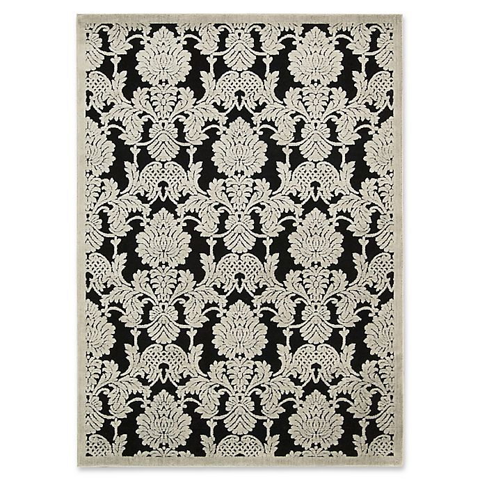 Alternate image 1 for Nourison Gil Damask 5-Foot 3-Inch x 7-Foot 5-Inch Area Rug in Black