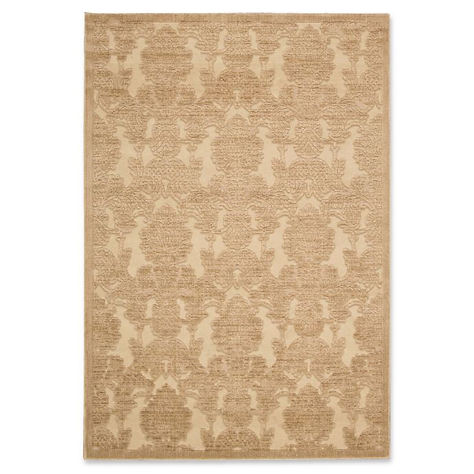Alternate image 1 for Nourison Gil Damask 5-Foot 3-Inch x 7-Foot 5-Inch Area Rug in Gold