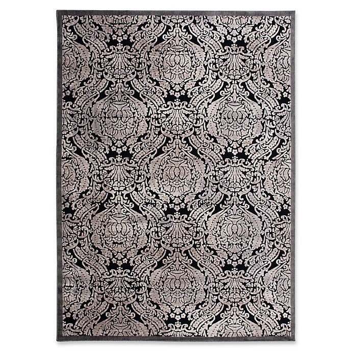 Alternate image 1 for Nourison Graphic Illusions Damask 5-Foot 3-Inch x 7-Foot 5-Inch Area Rug in Black
