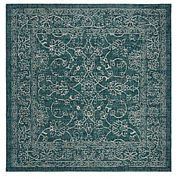 Destination Summer Courtyard 6'7 Square Indoor/Outdoor Area Rug in Turquoise