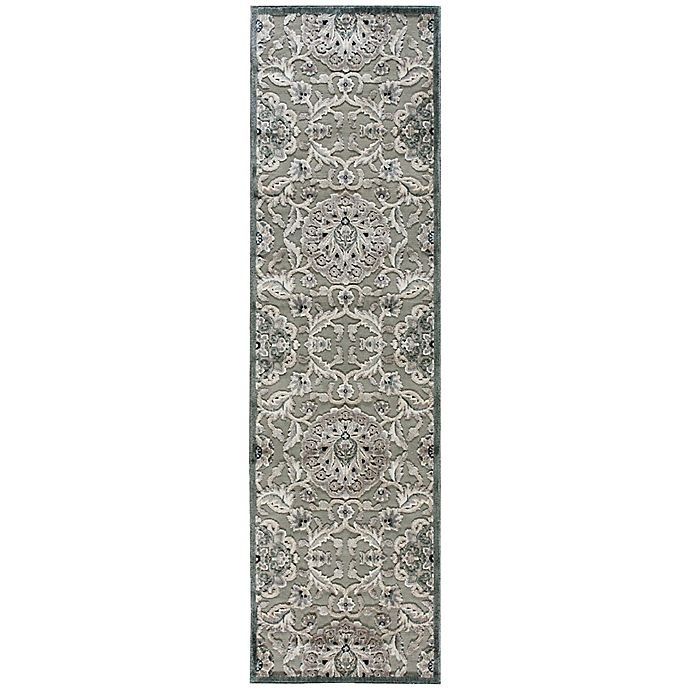 Alternate image 1 for Nourison Gil Floral 2-Foot 3-Inch x 8-Foot Runner in Grey