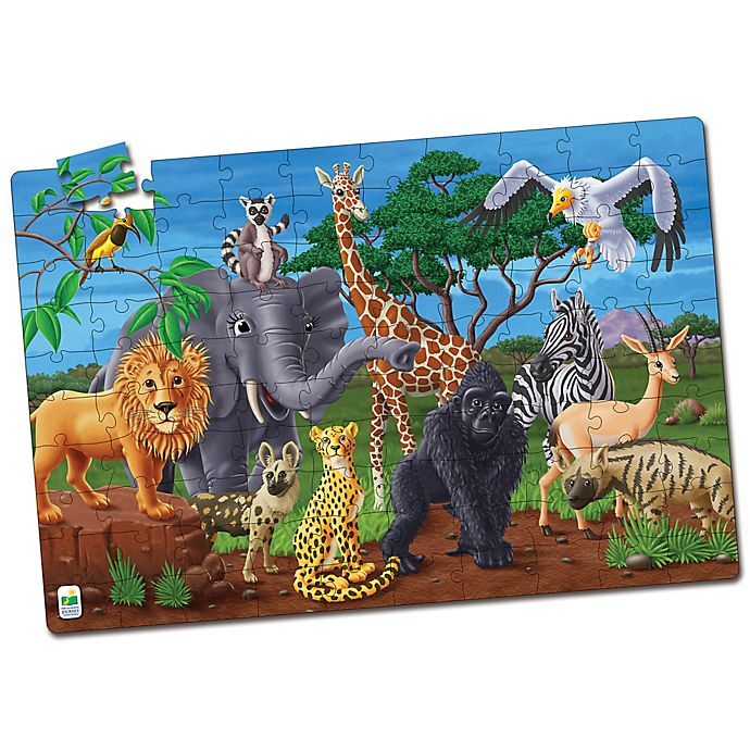 Alternate image 1 for The Learning Journey Puzzle Doubles! Glow in the Dark Wildlife Puzzle
