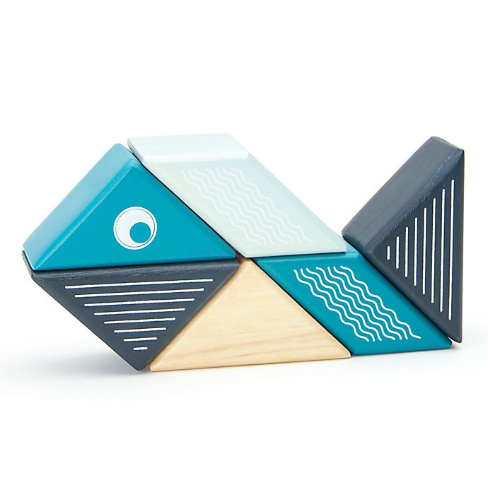 Alternate image 1 for Tegu Travel Pals 6-Piece Whale Wooden Block Set