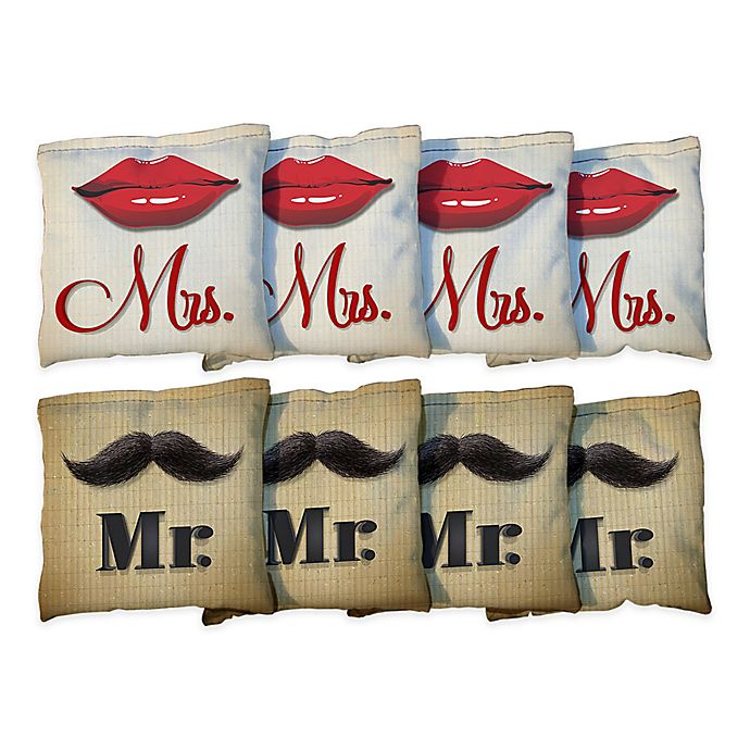 Alternate image 1 for Victory Tailgate Mr. & Mrs. Lips Wedding Regulation Corn-Filled Cornhole Bags (Set of 8)