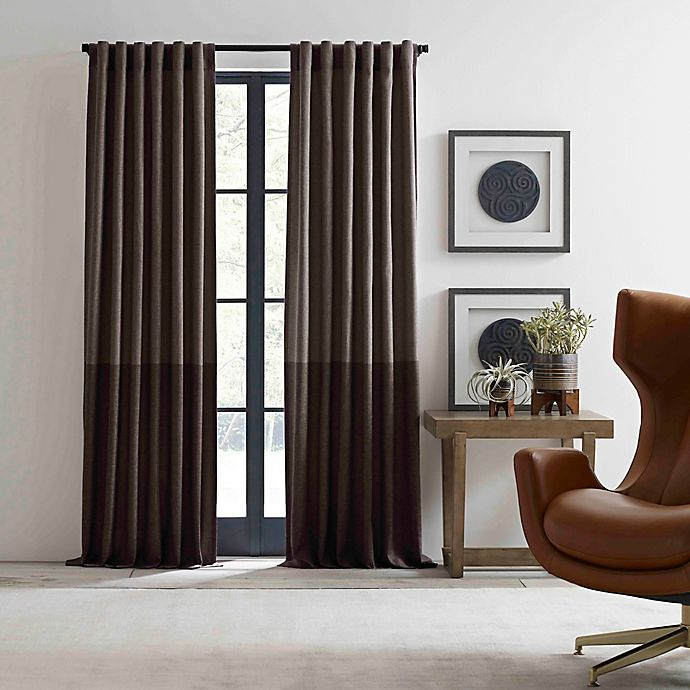 Alternate image 1 for ED Ellen DeGeneres Shadow 108-Inch Rod Pocket/Back Tab Window Curtain Panel in Brown