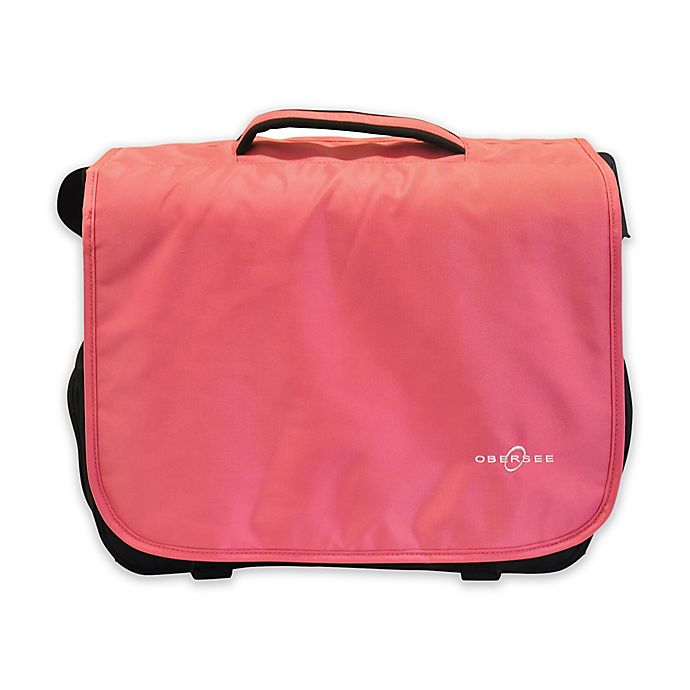 Alternate image 1 for Obersee Madrid Convertible Diaper Messenger Bag with Viola Changing Kit in Pink
