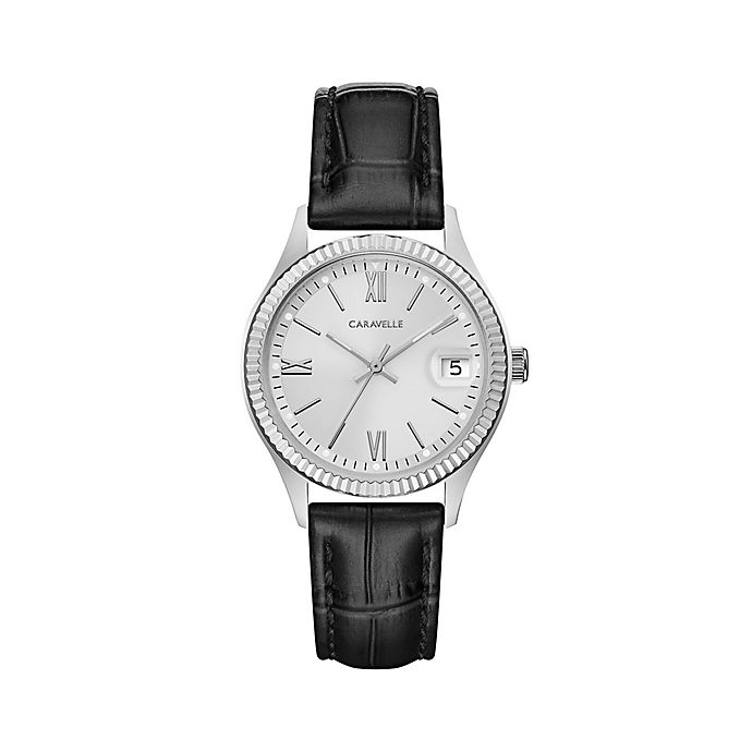 Alternate image 1 for CARAVELLE Ladies' 30mm Watch in Stainless Steel with Black Leather Strap