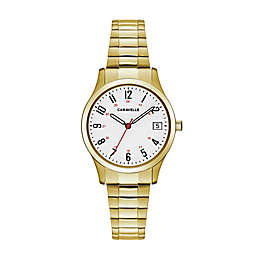 CARAVELLE Ladies' 30mm Easy Reader Watch in Goldtone Stainless Steel with Expansion Band