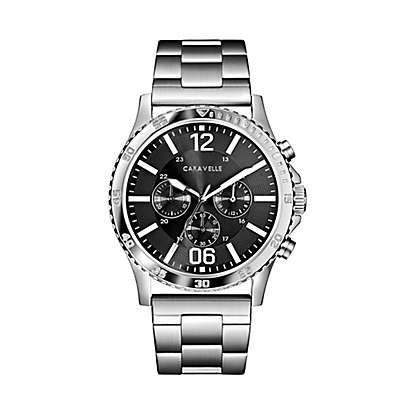 CARAVELLE Men's 44mm Chronograph Watch in Stainless Steel with Grey Dial