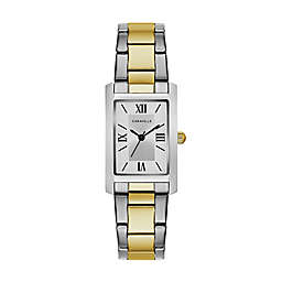 CARAVELLE Ladies' 31mm Rectangular Bracelet Watch in Two-Tone Stainless Steel