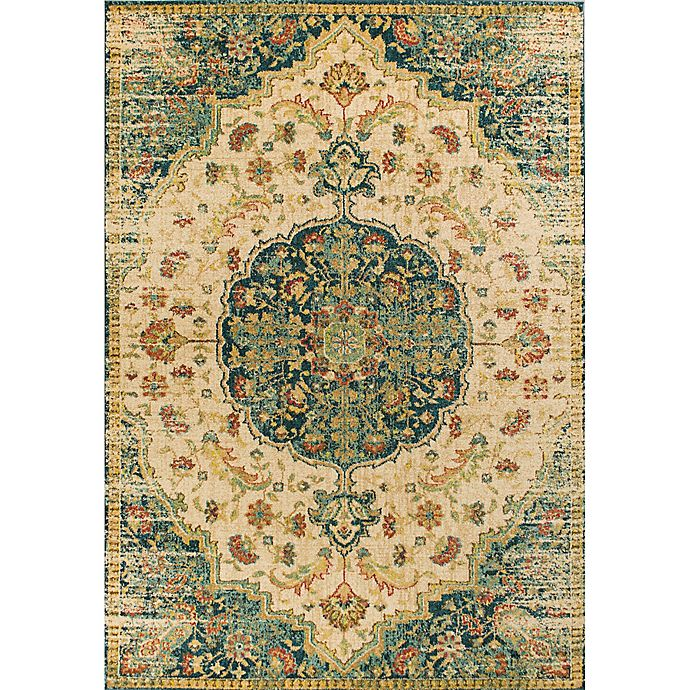 Alternate image 1 for KAS Casablanca Condesa 5-Foot 3-Inch x 7-Foot 7-Inch Area Rug in Sand/Teal
