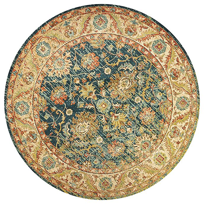 Alternate image 1 for KAS Casablanca Cyrus 9-Foot 10-Inch Round Area Rug in Teal/Sand
