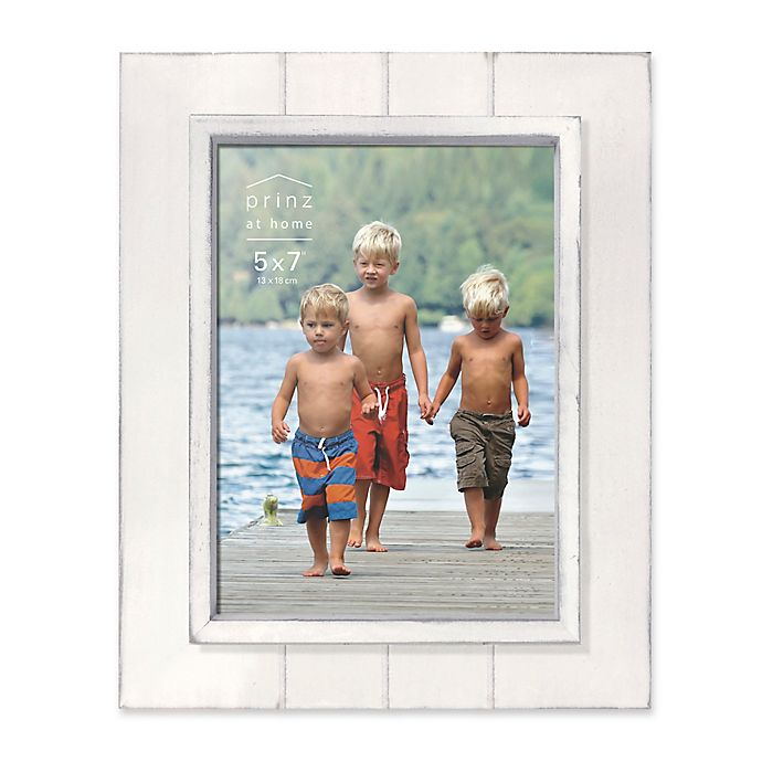 Alternate image 1 for Prinz Coastal 5-Inch x 7-Inch Grooved Wood Plank Picture Frame in White