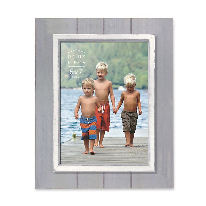 Alternate image 1 for Prinz Coastal 5-Inch x 7-Inch Grooved Wood Plank Picture Frame in Grey