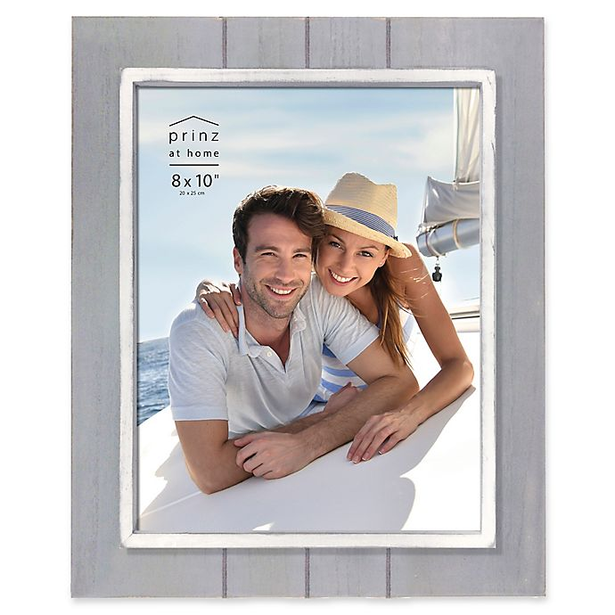 Alternate image 1 for Prinz Coastal 8-Inch x 10-Inch Grooved Wood Plank Picture Frame in Grey