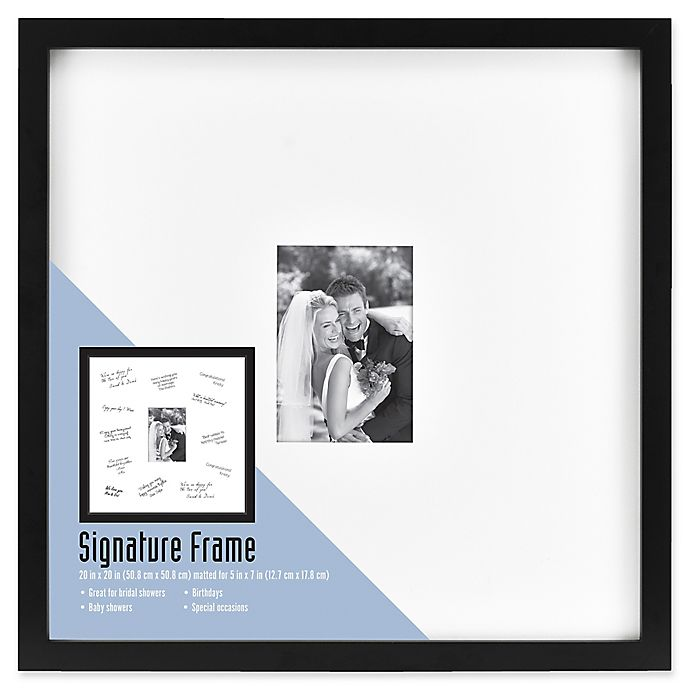 Alternate image 1 for Gallery  Signature Matted Brushed Metal  5-Inch x 7-Inch Frame in Black