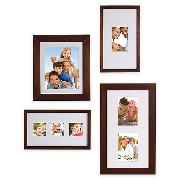 Alternate image 1 for Gallery 4-Piece Wood Picture Frame Set in Brown