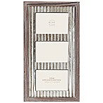 Prinz 3-Photo 4-Inch x 6-Inch Galvanized Metal and Wood Picture Frame in Natural