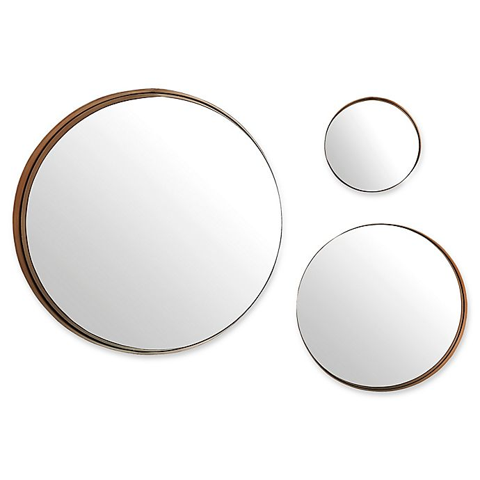 Alternate image 1 for Forest Gate™ Diana 3-Piece Round Banded Copper Wall Mirror