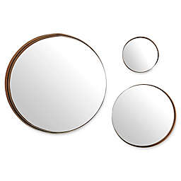 Forest Gate 3-Piece Round Banded Copper Wall Mirror