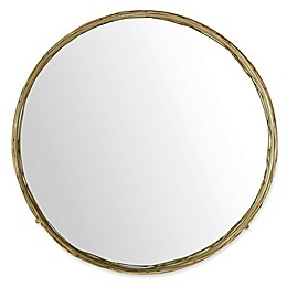 Forest Gate 32-Inch Round Mirror with Wire Nest Frame in Gold