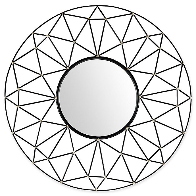 Alternate image 1 for Forest Gate 35-Inch Round Geometric Frame MIrror