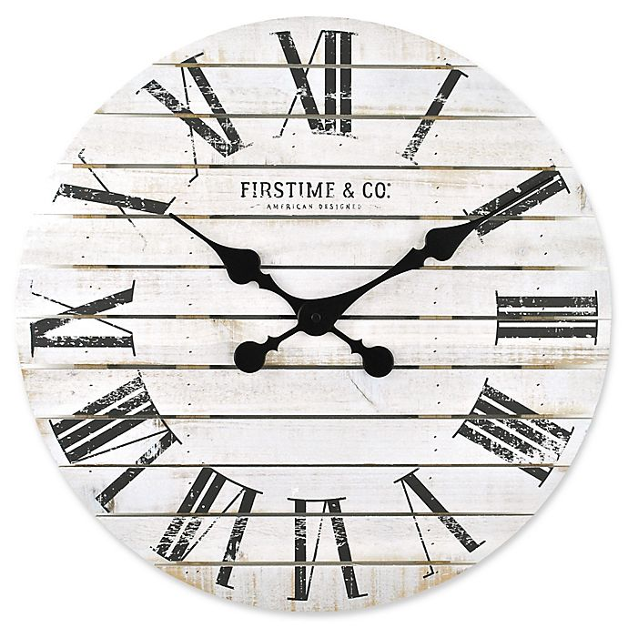 Alternate image 1 for FirsTime® Shiplap Wall Clock in White