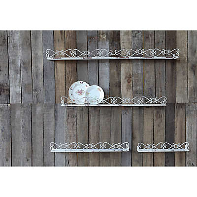 Creative Co-Op Distressed Iron Shelves in Cream (Set of 4)