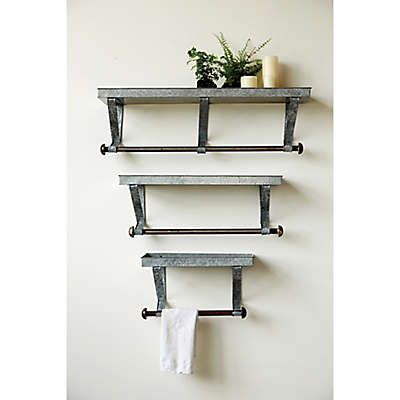 Creative Co-Op Galvanized Iron Wall Rack in Acid Wash (Set of 3)