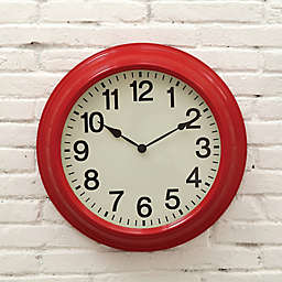16-Inch Round Metal Wall Clock in Red
