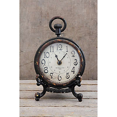 6.5-Inch Pewter Mantle Clock with Black Stand