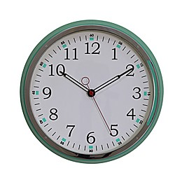 14.76-Inch Round Metal Wall Clock in Aqua