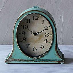 8.5-Inch Oval Metal Mantle Clock in Aqua