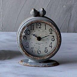 6-Inch Round Pewter Mantle Clock with Bird in Grey