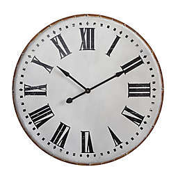39.75-Inch Round Metal Wall Clock in Black/White