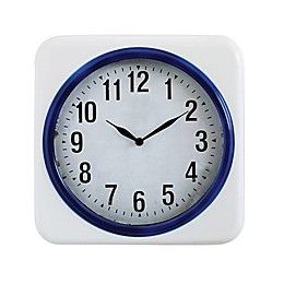 13.75-Inch Round Metal Wall Clock in White/Blue