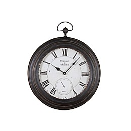 16-Inch Round Pocket Watch Wall Clock in Antique Black