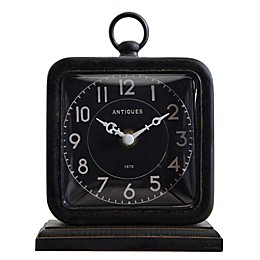 6.75-Inch Pewter Table Clock in Black