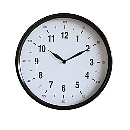 11.75-Inch Round Metal Wall Clock in Black
