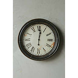28-Inch Round Wood & Metal Wall Clock