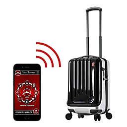 Planet Traveler USA Space Case Hardside Spinner Luggage in Black