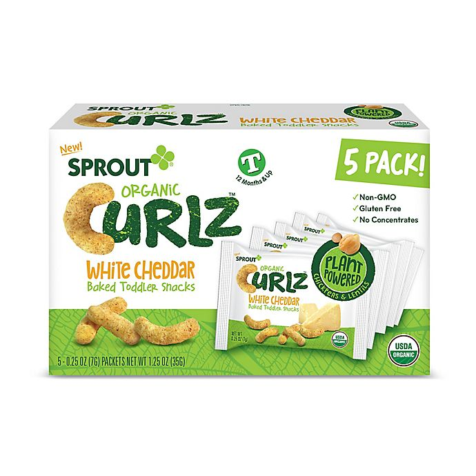 Alternate image 1 for Sprout® 5-Count White Cheddar Organic Curls™ Baked Toddler Snack