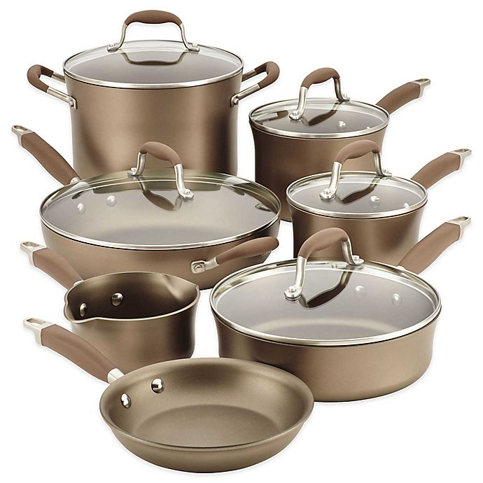Alternate image 1 for Anolon® Advanced Umber 12-Piece Hard Anodized Nonstick Cookware Set
