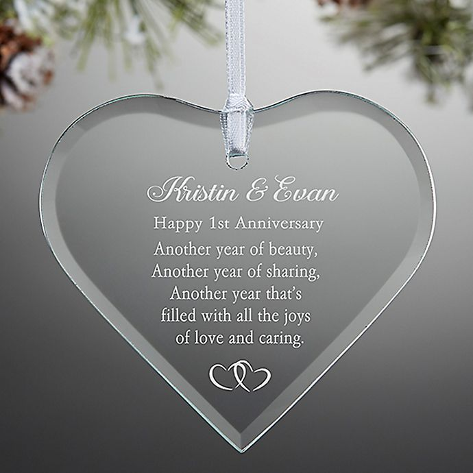 Alternate image 1 for Anniversary Wishes Engraved Christmas Ornament