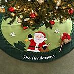 Christmas Family Embroidered Santa Christmas Tree Skirt