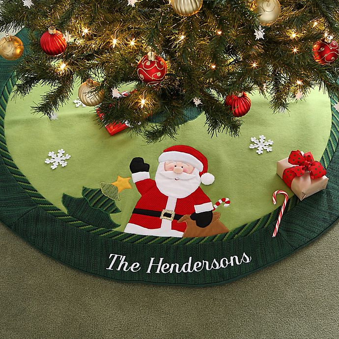 christmas family embroidered santa christmas tree skirt buybuy baby christmas family embroidered santa christmas tree skirt
