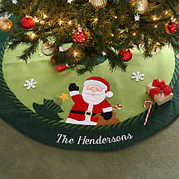 Christmas Family Embroidered Santa Christmas Tree Skirt