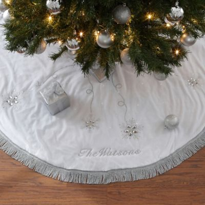 Season S Sparkle Embroidered Christmas Tree Skirt Bed