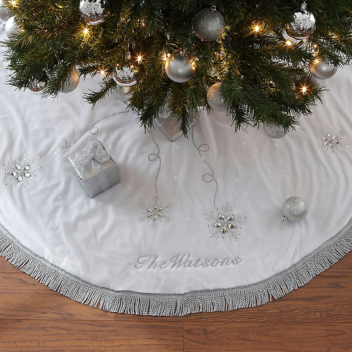Season's Sparkle Embroidered Christmas Tree Skirt | Bed ...