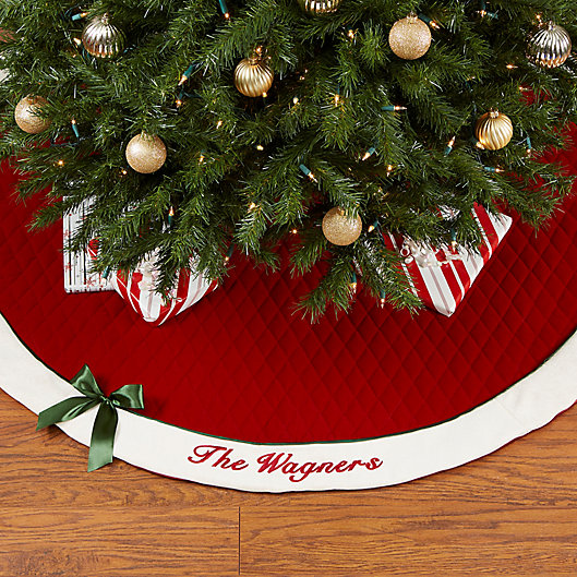 Alternate image 1 for Winter Classic Personalized Quilted Christmas Tree Skirt with Bow